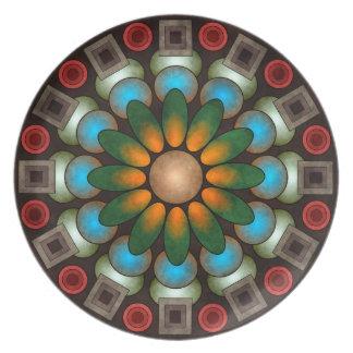 かわいい花柄の抽象芸術のベクトル芸術のプレート プレート