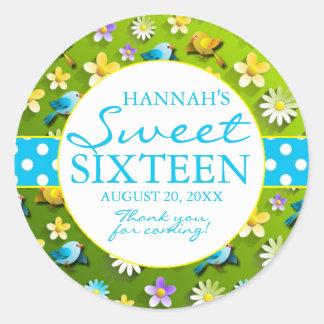 かわいい花柄及び鳥の菓子16の誕生会の好意 ラウンドシール