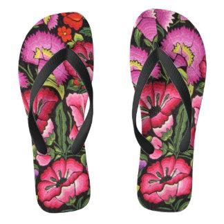 かわいい花柄、メキシコスタイル ビーチサンダル