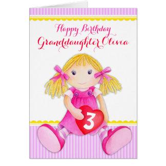 かわいい芸術の孫娘の縫いぐるみ人形の年齢のバースデー・カード カード