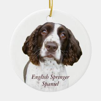 かわいい英国のスプリンガースパニエルのクリスマスのオーナメント セラミックオーナメント