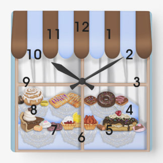 かわいい茶色がかった鋼色のカップケーキの菓子のベーカリー スクエア壁時計