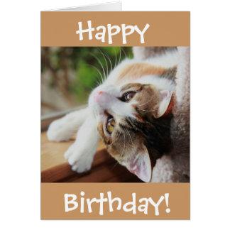 かわいい茶色のぶち猫のバースデー・カード、のどを鳴らす音fect日! カード