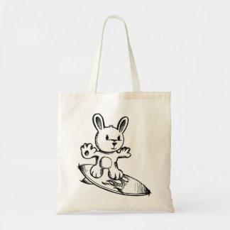 かわいい落書きのスケッチのバニーウサギのサーフィンのバッグ トートバッグ