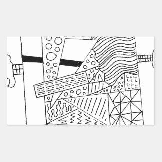かわいい落書きの創造物 長方形シール