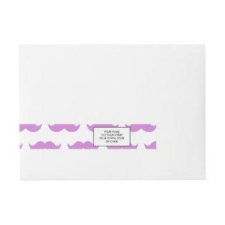 かわいい薄紫および白い髭パターン1 ラップアラウンド宛名ラベル