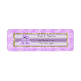 かわいい薄紫のバニーのベビーシャワー ラベル