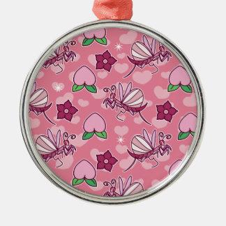 かわいい蘭のカマキリおよびモモピンクパターン メタルオーナメント