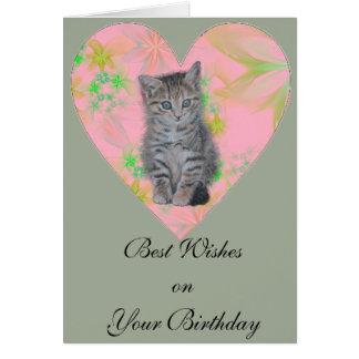 かわいい虎猫の子猫、花のハートの設計の子ネコ カード
