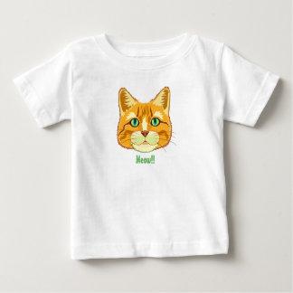 かわいい虎猫猫の猫の鳴き声のベビーのTシャツ ベビーTシャツ