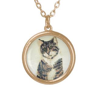 かわいい虎猫猫の絵画 ゴールドプレートネックレス
