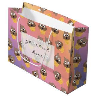 かわいい虹のウンチのEmojiのアイスクリームコーンパターン ラージペーパーバッグ