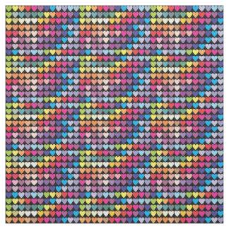 かわいい虹のカラフルのハート ファブリック