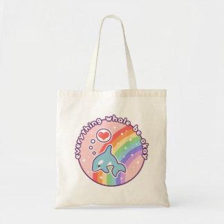 かわいい虹のクジラ トートバッグ