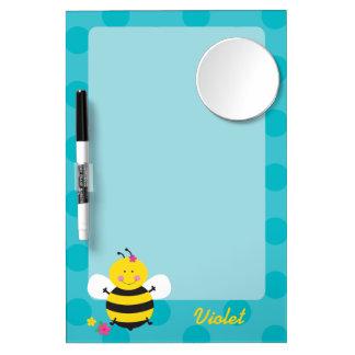 かわいい蜂の名前入りなホワイトボード ミラー付きホワイトボード