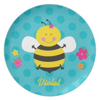 かわいい蜂の名前入りなメラミンプレート プレート