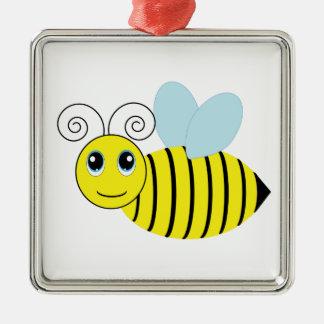 かわいい蜂蜜の蜂 シルバーカラー正方形オーナメント
