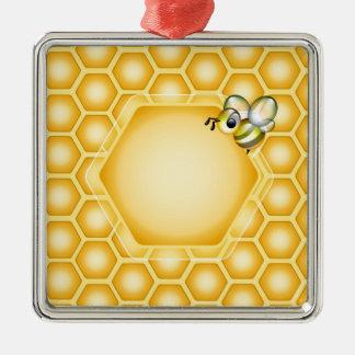 かわいい蜜蜂が付いている蜜蜂の巣の背景 メタルオーナメント
