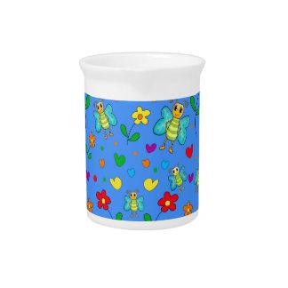 かわいい蝶および花模様-青 ピッチャー