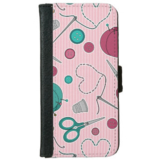 かわいい裁縫テーマパターンピンク iPhone 6/6S ウォレットケース