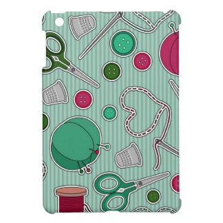 かわいい裁縫パターン緑および紫色 iPad MINIケース
