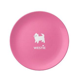 かわいい西の高地テリア- I愛Westies 磁器プレート