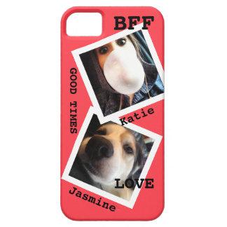 かわいい親友名前入りな2つの写真傾けられる iPhone SE/5/5s ケース