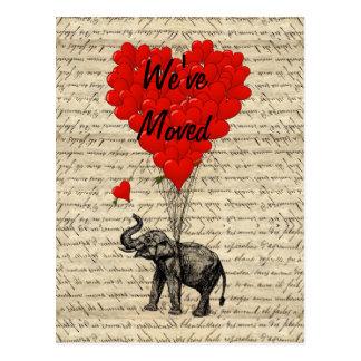 かわいい象のアドレス変更カード ポストカード