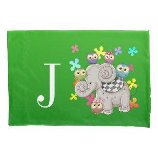 かわいい象のモノグラムの枕カバー 枕カバー
