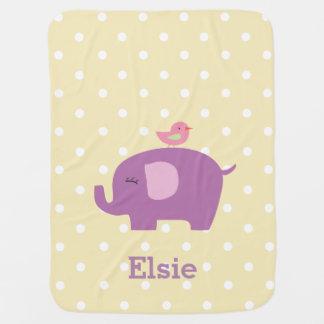 かわいい象の名前入りな女の子のベビーブランケット ベビー ブランケット
