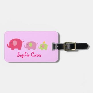 かわいい象の女の子のバッグのラベル ラゲッジタグ