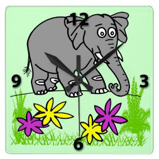 かわいい象の子供の正方形の柱時計 クロック