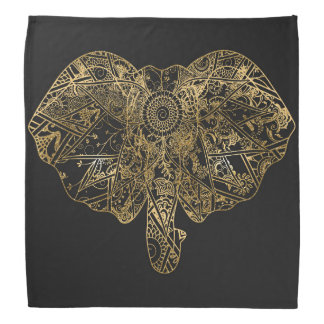 かわいい象の手描きのHennaの花柄 バンダナ