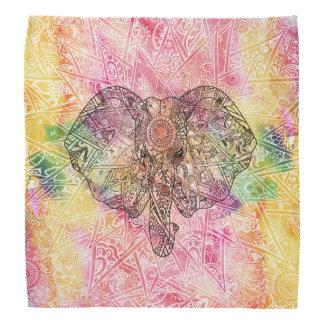 かわいい象の水彩画の手描きのHennaの花柄 バンダナ