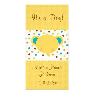かわいい象の誕生の発表それは男の子です カード