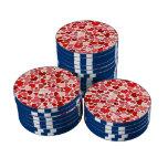 かわいい赤いハートの背景 カジノチップ