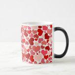 かわいい赤いハートの背景 コーヒーマグ