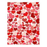 かわいい赤いハートの背景 ポストカード
