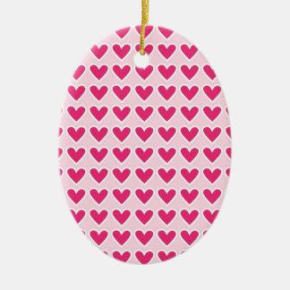 かわいい赤いハートパターンピンクのバレンタインデーのギフト セラミックオーナメント