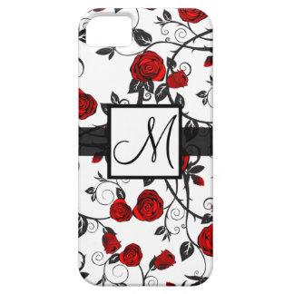 かわいい赤いバラのモノグラムMのiPhoneの箱 iPhone SE/5/5s ケース