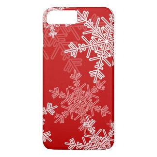 かわいい赤と白のクリスマスの雪片 iPhone 8 PLUS/7 PLUSケース