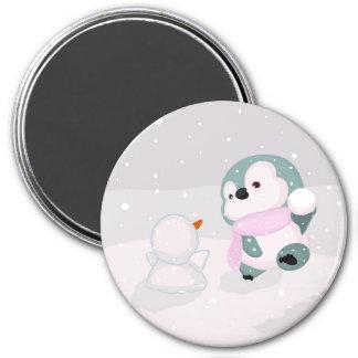 かわいい赤ん坊のペンギン、小さい雪だるま マグネット