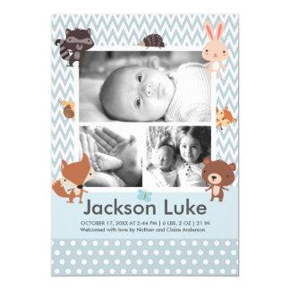 かわいい赤ん坊動物の男の子の写真の誕生の発表 12.7 X 17.8 インビテーションカード