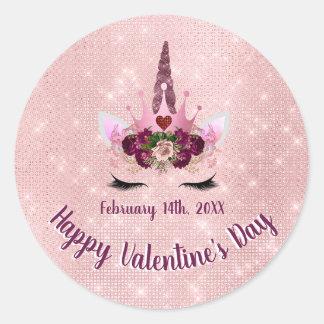 かわいい赤面のピンクのユニコーンのバレンタインデーのパーティー ラウンドシール
