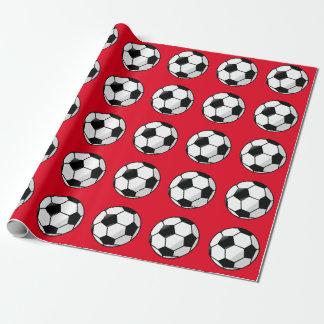 かわいい赤、サッカーの包装紙 ラッピングペーパー