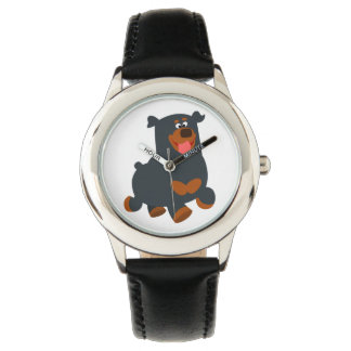 かわいい跳ね回る漫画のロットワイラーの腕時計 腕時計