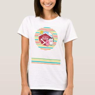 かわいい農場のベビーシャワーは、明るい虹縞で飾ります Tシャツ