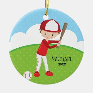 かわいい野球選手の名前入りなクリスマス セラミックオーナメント