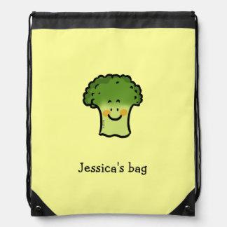 かわいい野菜のブロッコリーの漫画-ちょうど名前を加えて下さい ナップサック