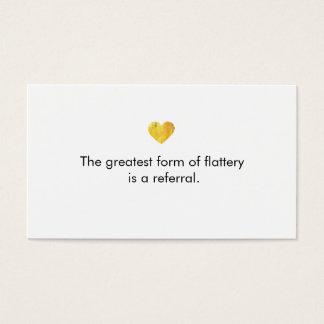 かわいい金ゴールドのハートの白い顧客の紹介カード 名刺